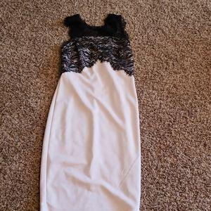 Blush and black lace formal dress sz M